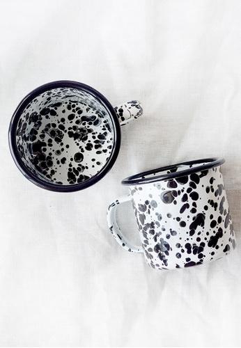Your Lagom black and white Paint Splatter Enamel Mug 510B2HLF140336GS_1