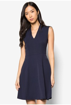 Collection Raised Collar Fit& Flare Dress