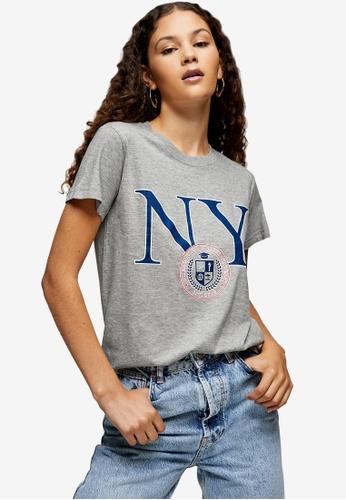 TOPSHOP grey New York Shrunken T-Shirt 61AAAAAE18E19FGS_1