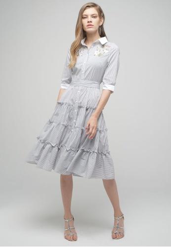 Megane black Red Romance Andree Dress in Stripes 5D165AA61735B0GS_1