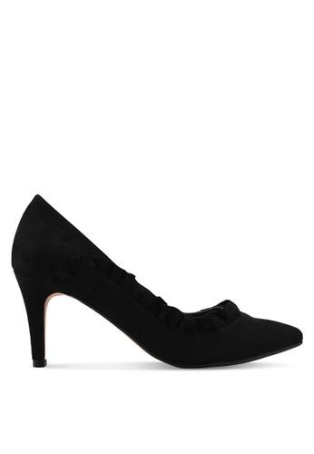 Velvet black Side Ruffle Detailed Heels 1FC97SHFE96239GS_1