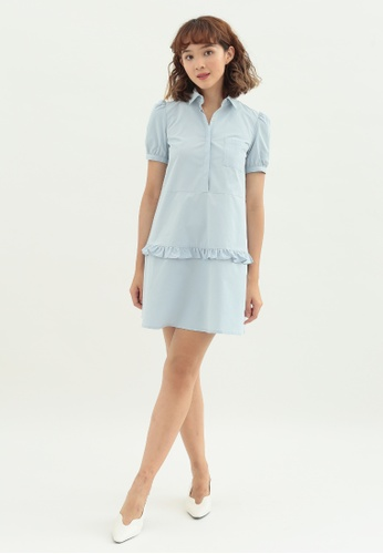 Love Knot blue Pansy Shirt Dress with Ruffles (Blue) 88EF1AA314C3A3GS_1