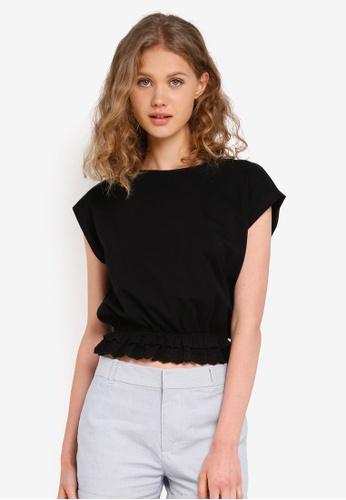 Jack Wills black Astwick Broderie Hem T-Shirt C0503AAFF9B75AGS_1