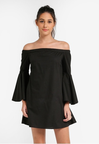 Something Borrowed black Off Shoulder Flare Sleeve Dress 32772AA6A4A6EAGS_1