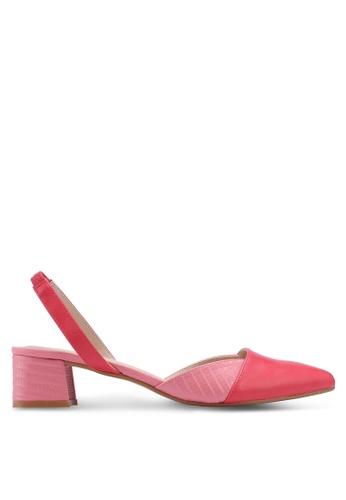 ZALORA 粉紅色 繞踝拼接低跟鞋 AE2EDSH8B8E9C2GS_1