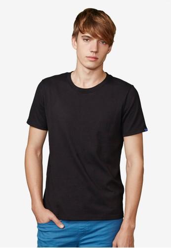 高磅藍標。純棉380克。經典圓領T-MIT-03483-黑esprit地址色, 服飾, 素色T恤