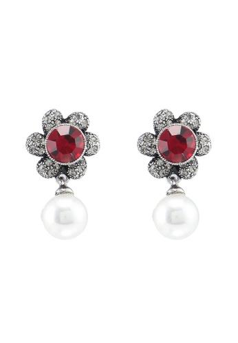 Dandelion 紅色 復古花卉珍珠耳環 4C8D7AC861315CGS_1