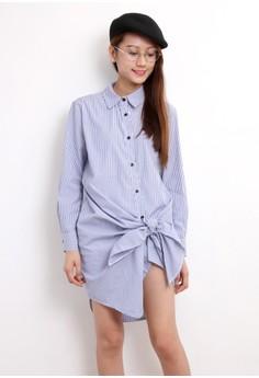Front Knot Pinstripe Shirt Dress