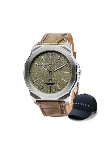 Perry Ellis brown Perry Ellis Decagon Men 46mm Quartz Watch 05004-01 with Perry Ellis Cap F0B37AC81ABEA1GS_1