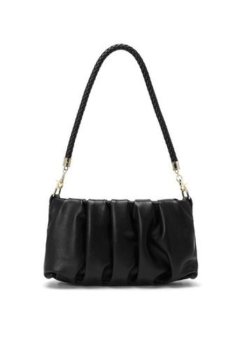 Lara black Women's Retro French Style PU Leather Zipper Underarm Bag - Black 44618AC172D23FGS_1