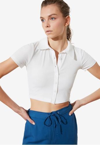 Trendyol white White Polo Shirt 2F4B8AA5CB87FBGS_1