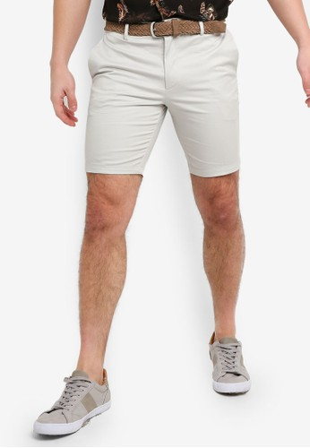 River Island beige Axis Belted Shorts Pebble 0B9FEAA0296D91GS_1