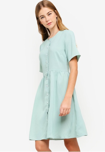 Something Borrowed green Button Down Dress E5D89AA473EF47GS_1