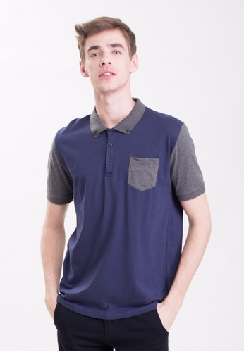 Drum grey Dual Tone Polo With Pocket-NBL DR425AA0RSRRMY_1