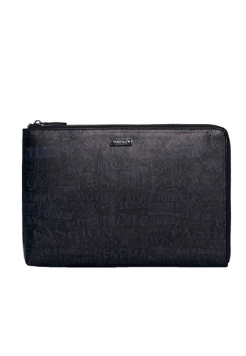 Renoma black and grey Tag-M Clutch Bag DF846ACCDED014GS_1