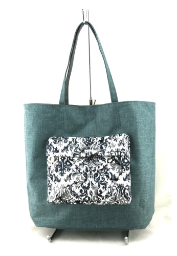 Esther Accessories green and multi Reversible Tote With Printed Front Pocket --- Safari/grey ES153AC43JNWHK_1