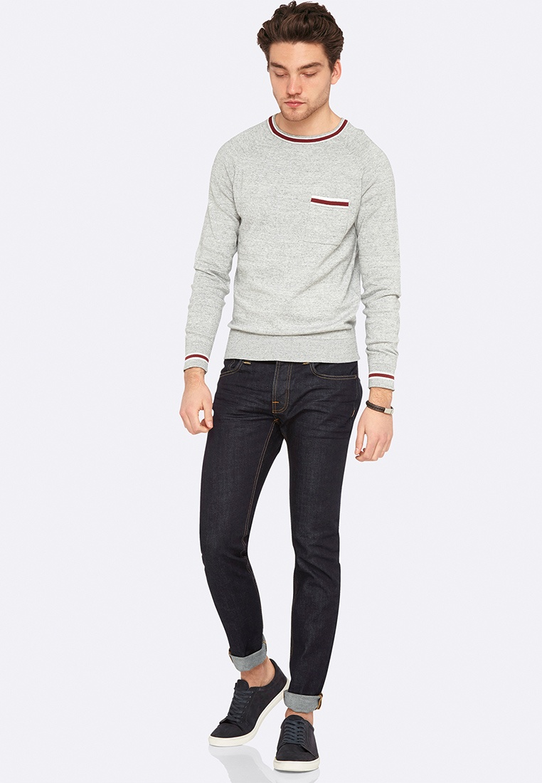 Barney Grey Pullover Melange Oxford Knit 4zq4ZRr