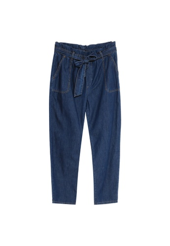 LC Waikiki blue Belted Carrot Jeans 87EDBAAE9F8B29GS_1