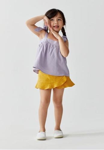Love, Bonito yellow Maia Ruffle Textured Cotton Skorts 0DCC1KA30A2231GS_1