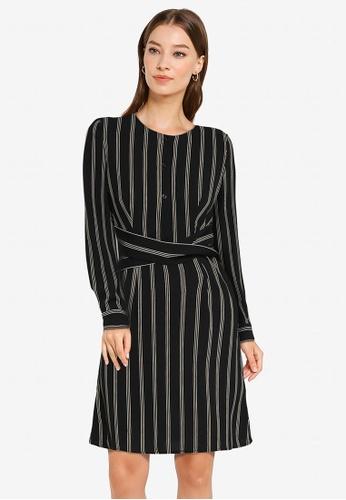 ZALORA WORK black and multi Cross Front Mini Shirt Dress D96CFAA3C2C58EGS_1