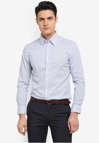 G2000 blue Mini Checked Cotton Long Sleeve Shirt 0C6EBAA9C30651GS_1