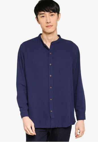 ZALORA BASICS navy Basic Oversized Grandad Collar Shirt D70A6AA40C38DAGS_1