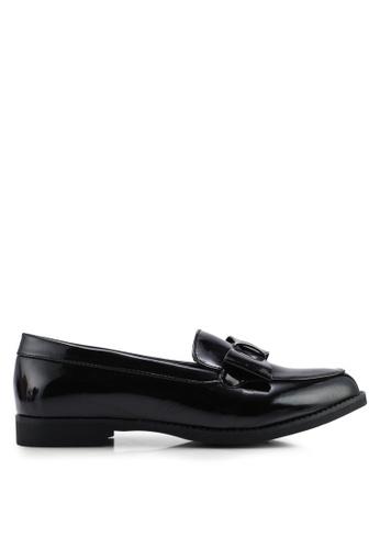 Glamorous 黑色 漆皮蝴蝶結樂福鞋 7942DSH991C266GS_1