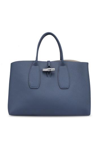 Longchamp blue Roseau L Top Handle Bag (zt) 77106AC80842D3GS_1