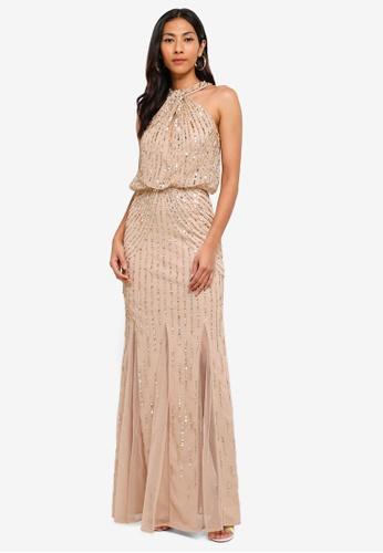cb4a0791f82f Lipsy gold Sequin Twist Neck Maxi Dress EA3D2AA5856995GS 1