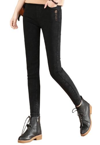 A-IN GIRLS black Elastic Waist Skinny Jeans (Plus Cashmere) 6C656AA13C2E6CGS_1