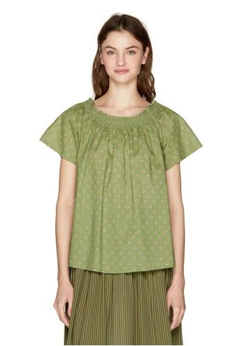 United Colors of Benetton 綠色 印花設計上衣 BEB40AAD08D843GS_1