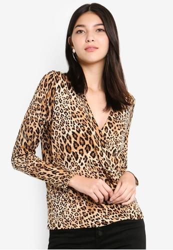 Dorothy Perkins 黑色 Leopard Print Wrap Top 779EBAA52708D4GS_1