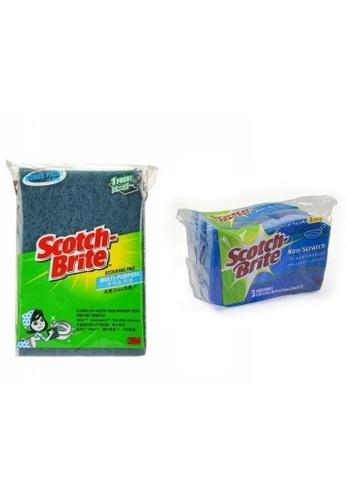 Scotch-Brite 3M Scotch Brite Non Scratch Multi Purpose Scouring 3pcs Pad [622BP] + Non Scratch Scrub Sponges 3pcs Value Pack [520-3PC] [Combo Set] 8E804ESE94ED4CGS_1