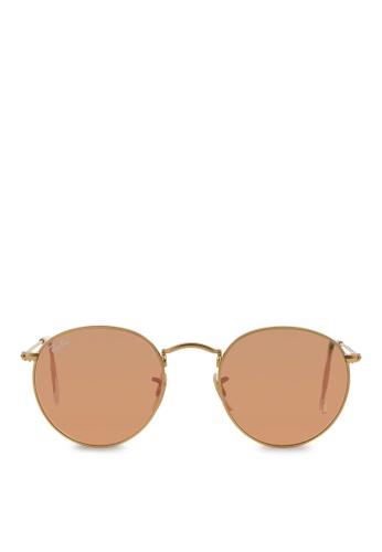 Ray-Ban 黃色 Round Metal RB3447 Sunglasses RA370GL04SBRSG_1