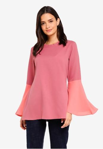 Aqeela Muslimah Wear pink Bell Sleeve Top 2081FAA9D5094DGS_1