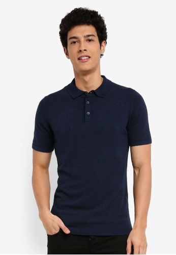 MANGO Man blue Textured Cotton Polo Shirt C9C48AAEF59C1DGS_1