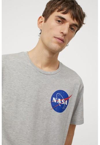 H&M grey Printed T-shirt EA5FFAA431F95CGS_1