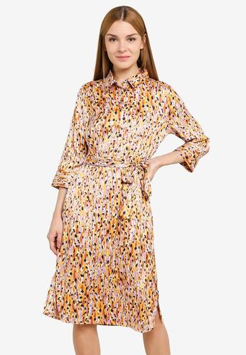 JACQUELINE DE YONG white and multi Fifi 3/4 Below Knee Dress 7D6ECAA0A48D36GS_1