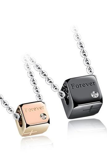 Trendyshop black and gold Cube Couples Pendant Necklace 1 Set 78244AC2790AD0GS_1