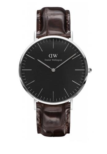 Daniel Wellington silver and brown Classic Black York Watch 40mm DA376AC81NBMMY_1