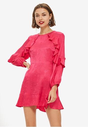 26028ba594 TOPSHOP pink Jacquard Ruffle Tea Dress 63A3AAAF99AD15GS 1