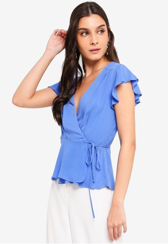 ZALORA blue Ruffles Sleeves Wrap Top 388AFAA065CF8CGS_1