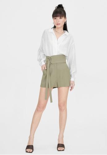 Pomelo green Double Buckle Obi Belt Shorts - Green 5439AAA59039AAGS_1