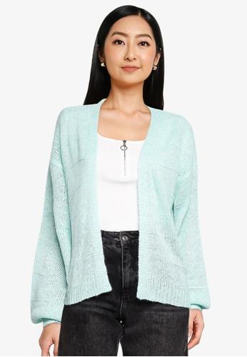 JACQUELINE DE YONG green and blue Sorella Long Sleeves Knit Cardigan 95568AA8ACE236GS_1