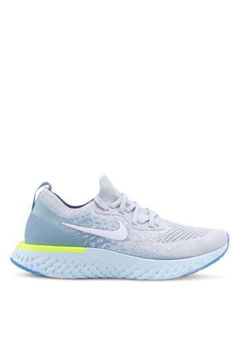 0aba08d6553f Nike grey and white and blue Women s Nike Epic React Flyknit Running Shoes  E89C9SHCCF30FCGS 1. CLICK TO ZOOM