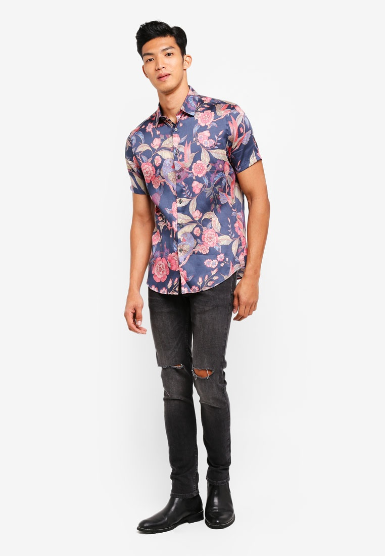 Dark Parrot Blue Shirt Print Floral With Topman Dark 11SRxFgqw