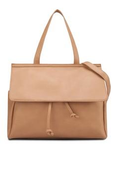 Flap Drawstring Handbag