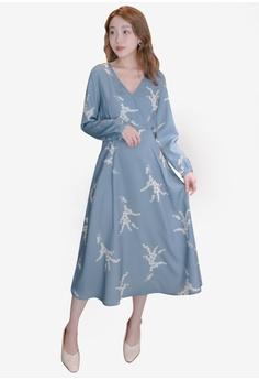 f15976e9775c1 Eyescream blue V-Neck Printed Long Sleeve Wrap Dress 9AFE4AA8BE7B3FGS 1