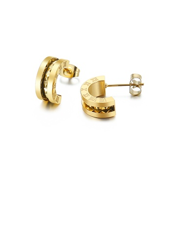 Glamorousky silver Fashion and Simple Plated Gold Roman Numerals Geometric Semicircular 316L Stainless Steel Stud Earrings 5C4E4ACE975B2EGS_1