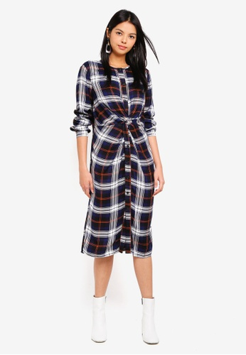 ESPRIT multi and navy Checked Midi Dress AE0A1AAD4C2C63GS_1